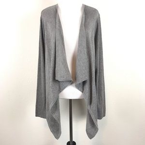 Torrid Cardigan Sweater Ribbed Drape Front Grey 2